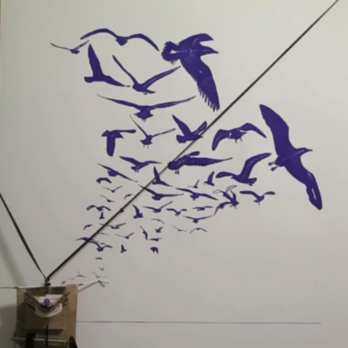 The Inky Lines plotter draws a flock of seagulls in blue ink on white paper. The print head is suspended near the bottom left corner of the image, as the pen inks the wing of a gull