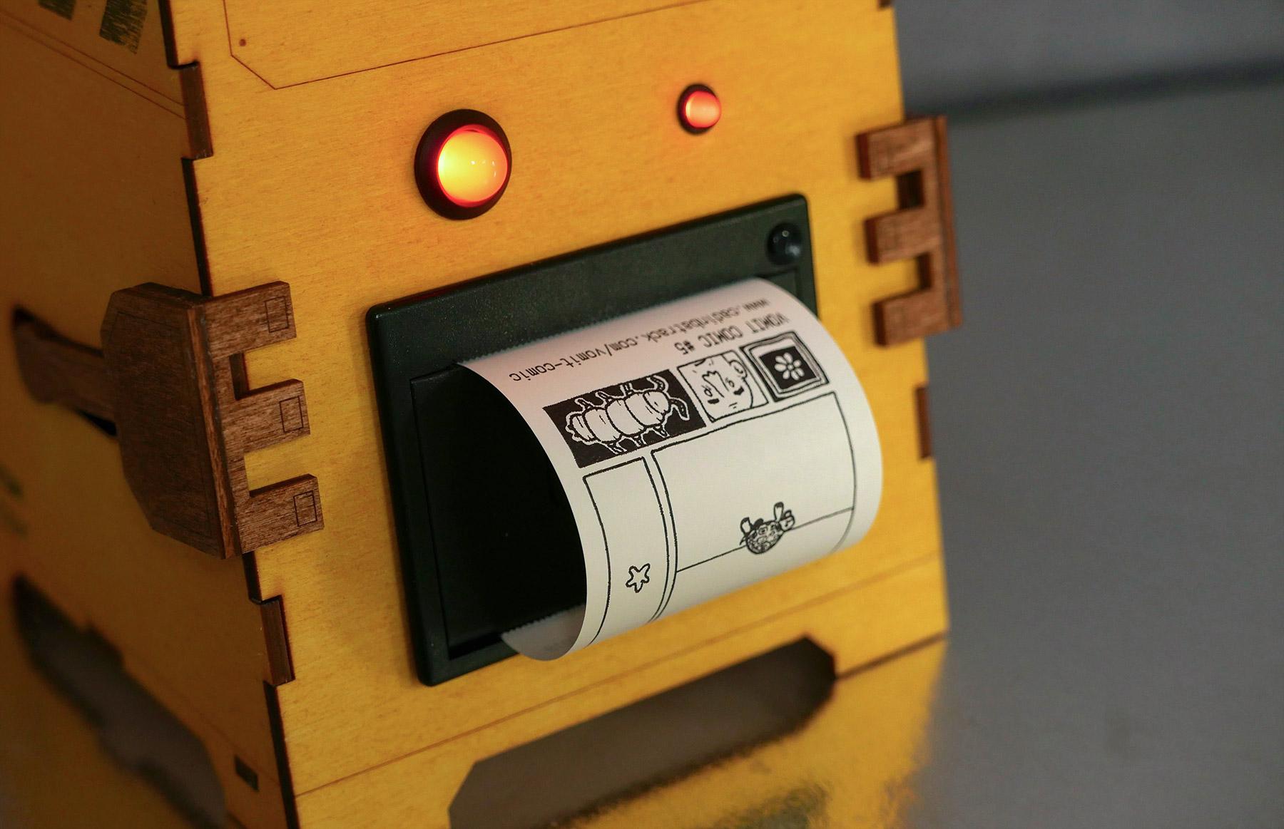 Comic Vomit Robot Cadin Batrack's Raspberry Pi comic-generating machine