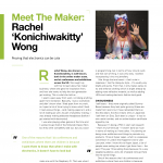 "A page from a magazine with the headline ""Meet The Maker: Rachel 'Konichiwakitty' Wong"" and a photograph of Rachel smiling and wearing LED kitty ears"