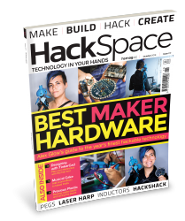 "The cover of HackSpace magazine issue 11, with a ""BEST MAKER HARDWARE"" feature and photos of maker Alex Glow with her robot owl"