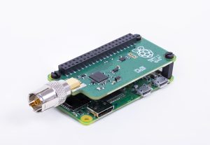 A photograph of a Raspberry Pi Zero W with TV HAT connected Oct 2018