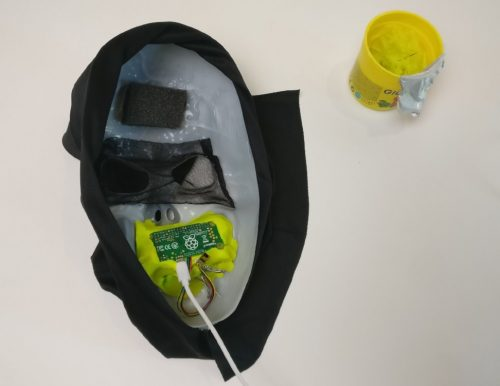 An image of the Raspberry Pi Zero voice changer inside a scary mask