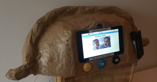 A photo of the Cornish Pasty photo booth Alex created for a wedding in Cornwall - SelfieBot Raspberry Pi Camera