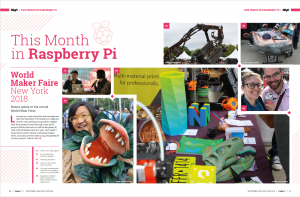 "Part of a magazine spread with the header ""This Month in Raspberry Pi"". There are lots of photos of makers, speakers and guests at World Maker Faire New York, most of them women, along with varied colourful projects"