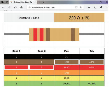 A screenshot of resistor-calculator website