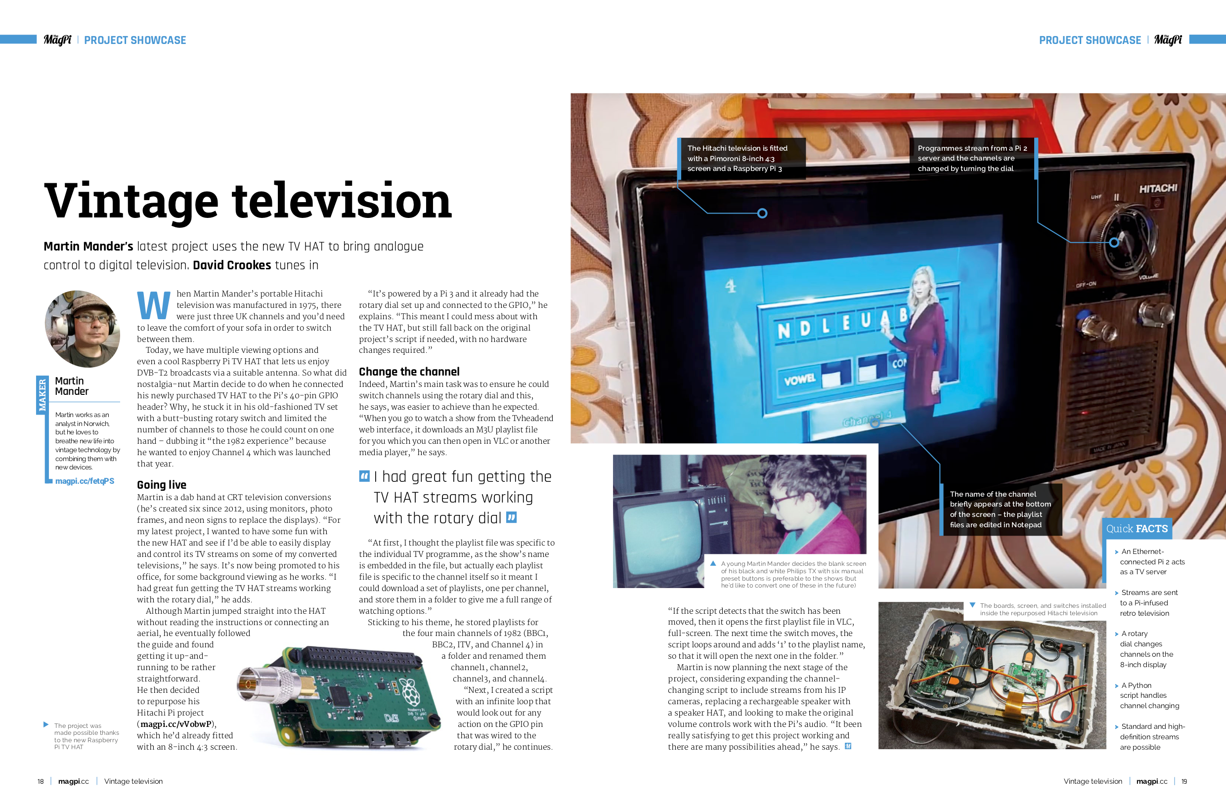 A page layout of the upcycled vintage television project using the Raspberry Pi TV HAT from The MagPi issue 78