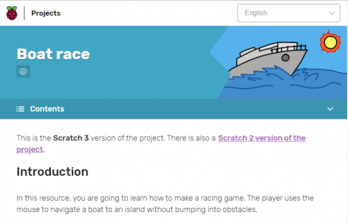 Screenshot of Scratch 3 project on Raspberry Pi projects site