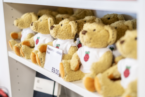 A shelf of Babbage Bear cuddle toys