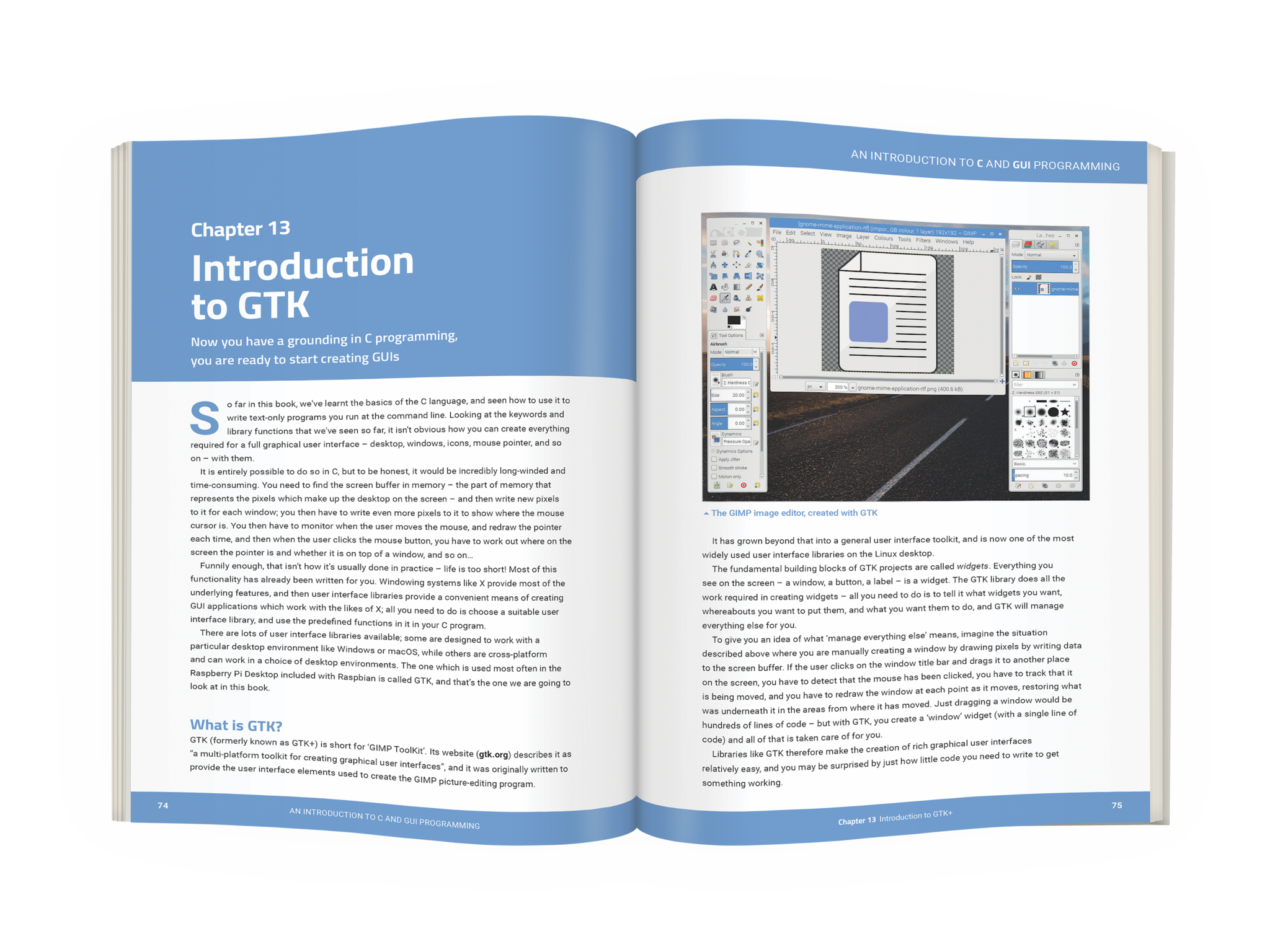 An Introduction to C and GUI programming by Simon Long published by Raspberry Pi Press