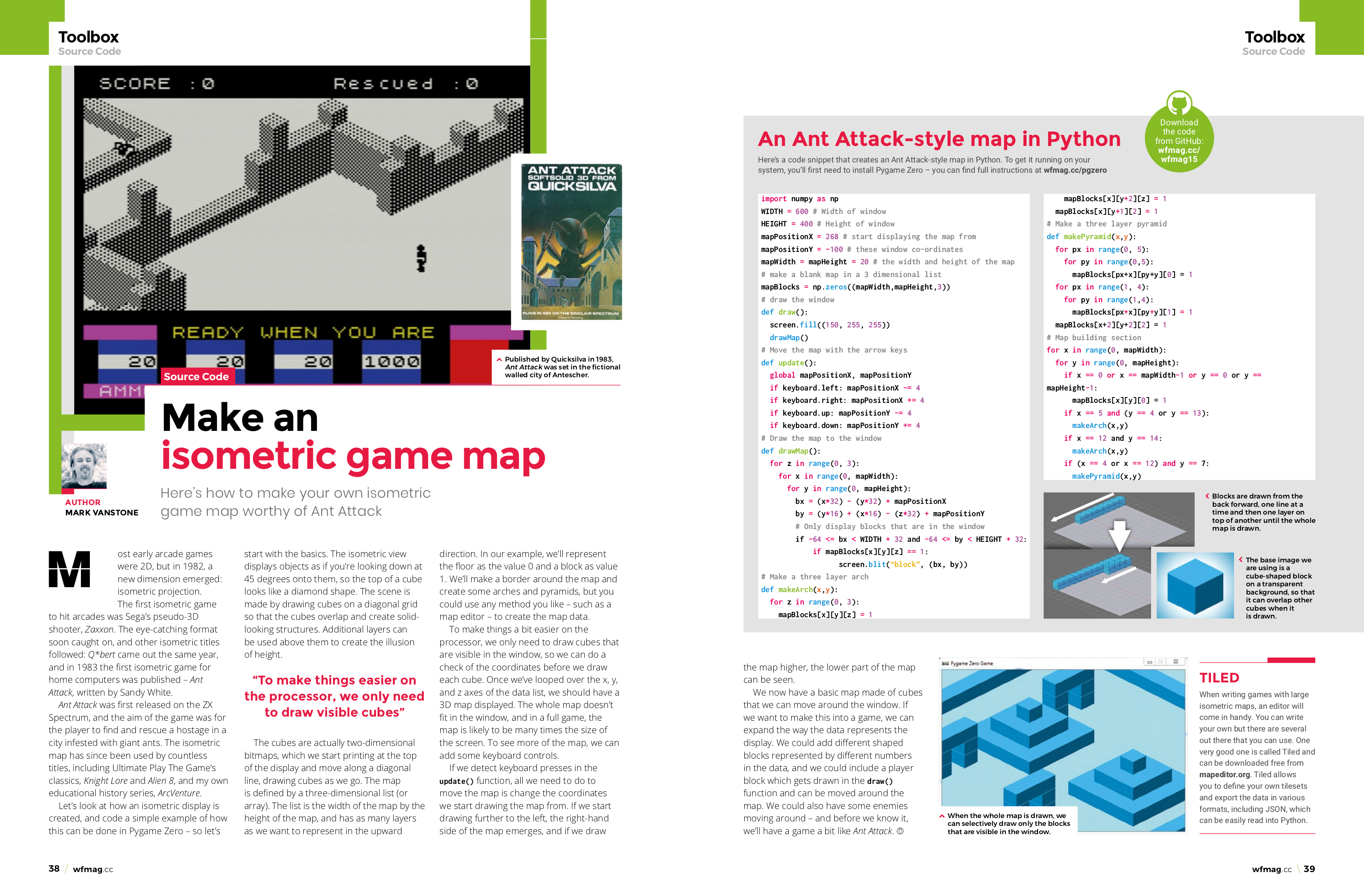 Coding an isometric game map | Wireframe issue 15 - Raspberry Pi