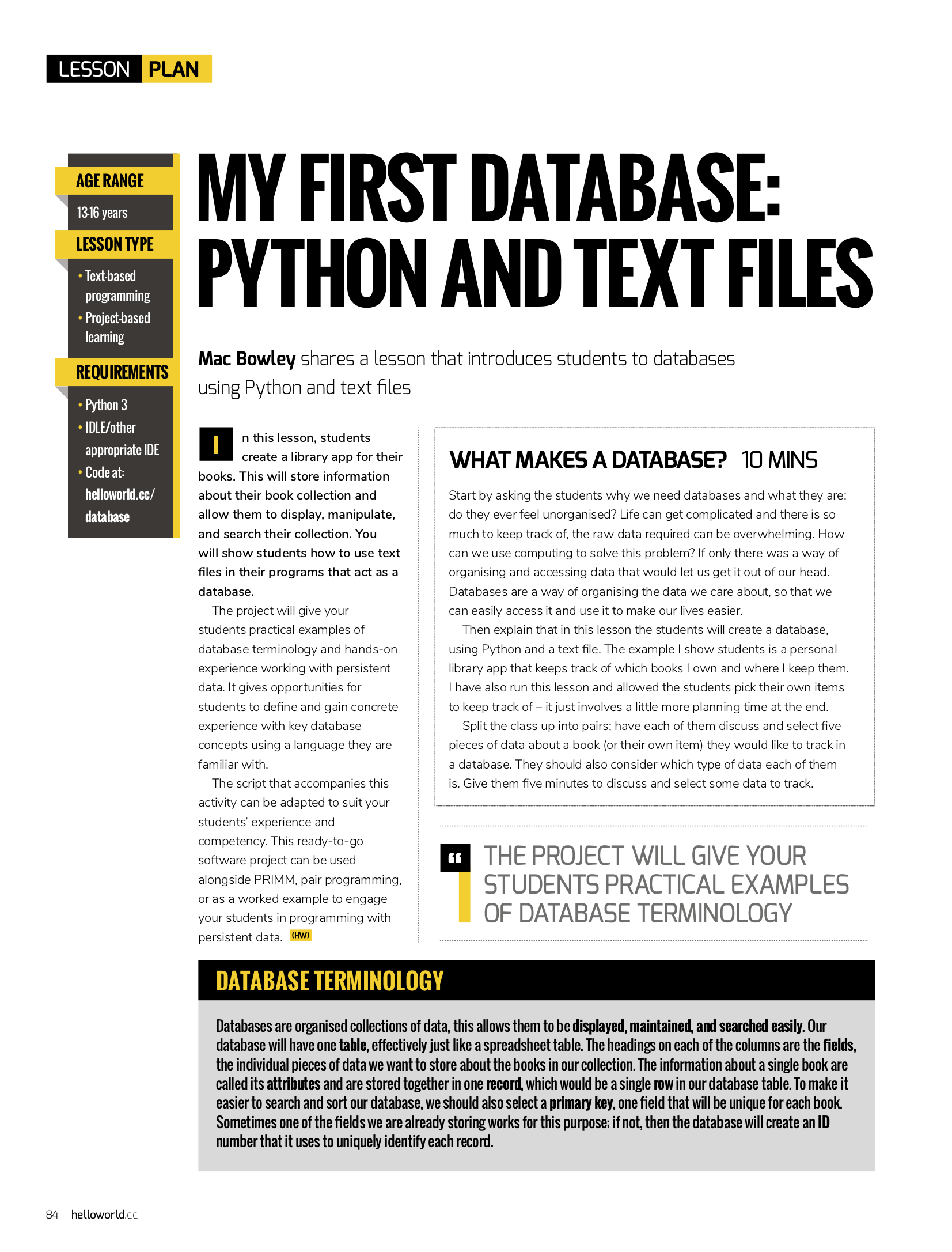 How to build databases using Python and text files | Hello