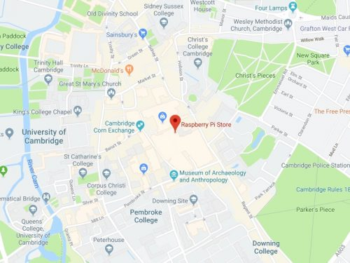 Location of the Raspberry Pi Store on a map of Cambridge