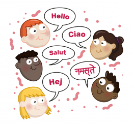 illustration of faces with speech bubbles saying Hello in various languages