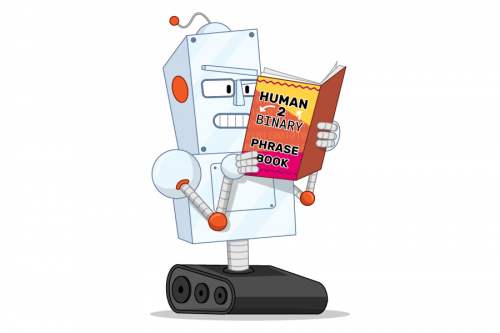 Illustration of a robot reading a book called 'human 2 binary phrase book'