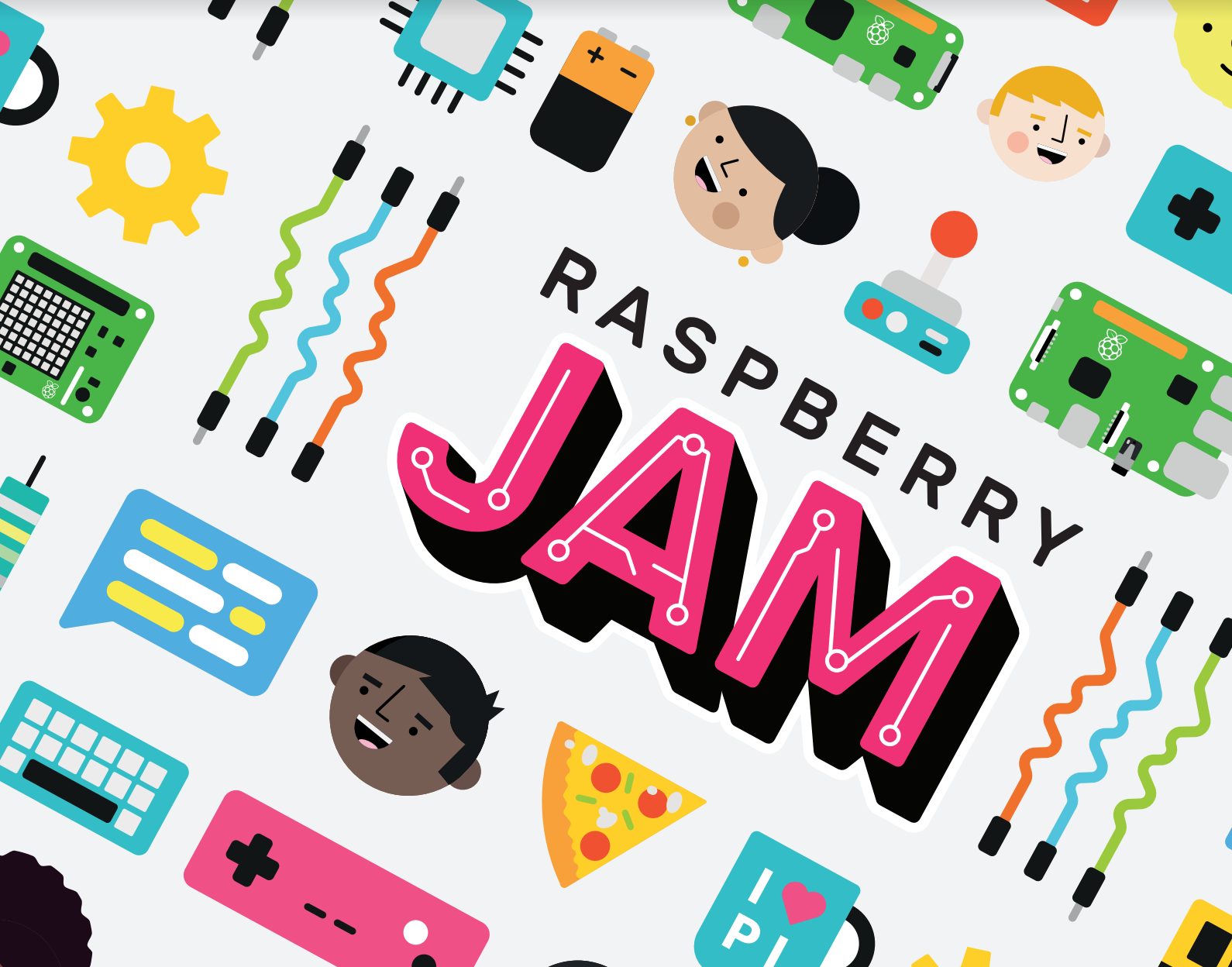 Raspberry Jam logo and illustrations