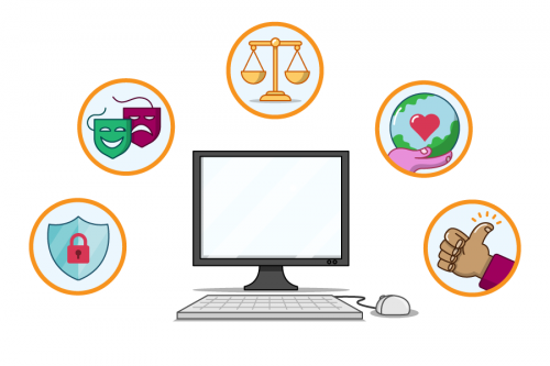 An illustration of a desktop computer above which 5 icons are shown for privacy, culture, law, environment, and ethics