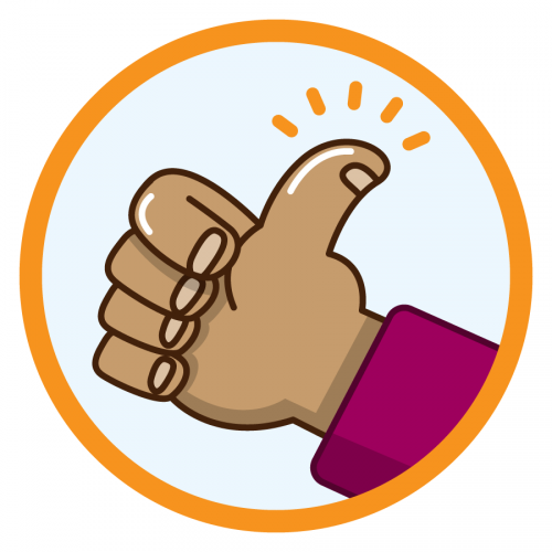 An icon showing a hand making a thumbs-up gesture