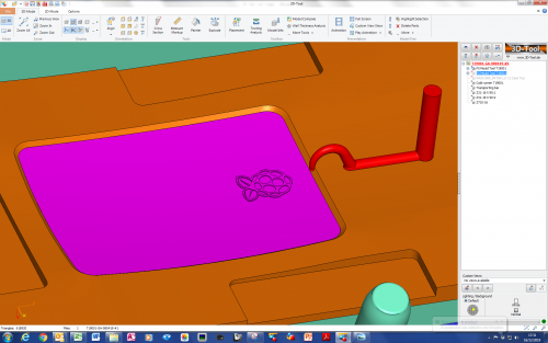 CAD representations of logo and tool
