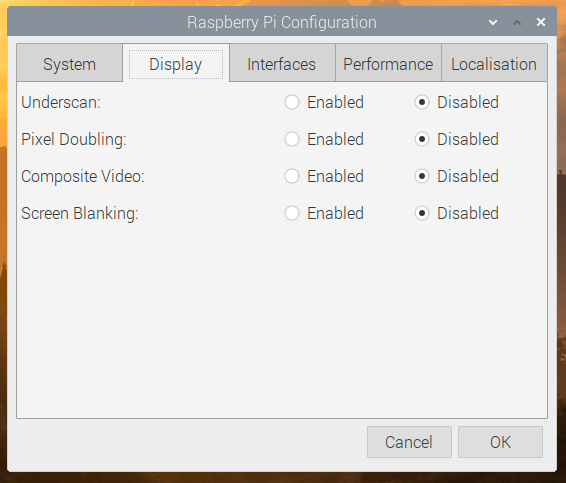 Example of Raspberry Pi Configuration menu of Raspberry Pi Desktop