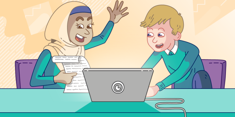 An illustration of a girl wearing a hijab and a boy working together at a laptop