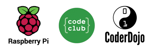 Raspberry Pi, Code Club, and CoderDojo logos