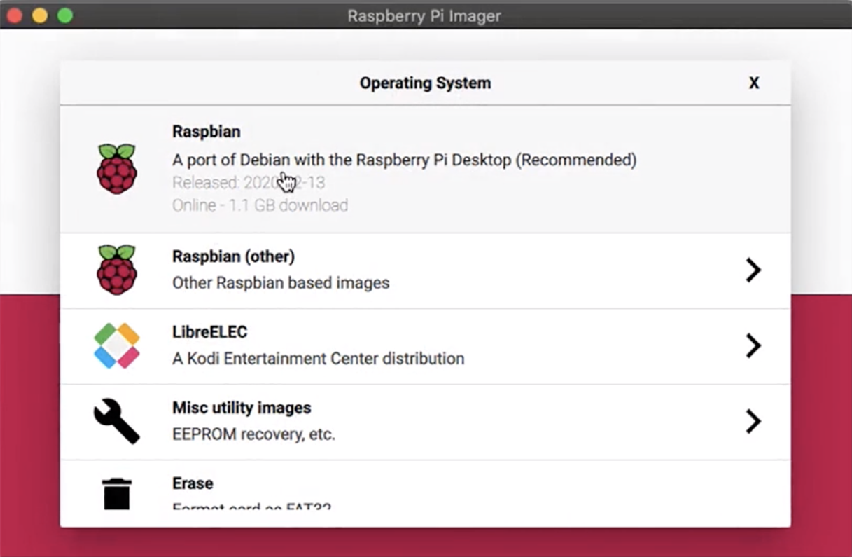 Raspberry Pi Imager OS Selection