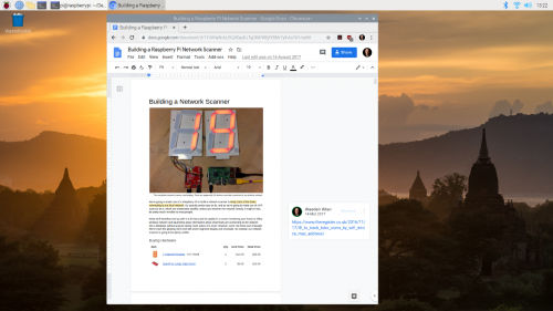 Using Google Docs on the Raspberry Pi