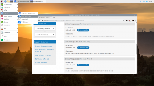 The newly installed Citrix Workspace client