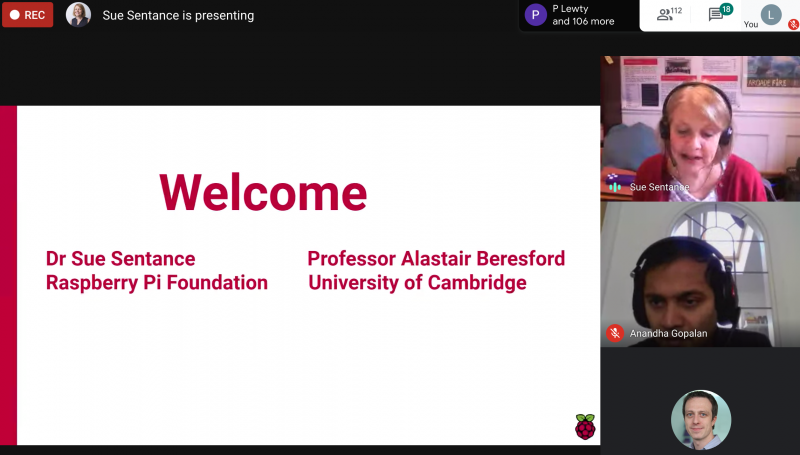 Screengrab from the Cambridge Computing Education Research Symposium 2020 online event