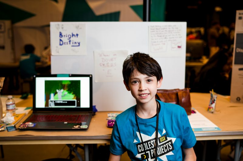 A boy presenting his digital making project