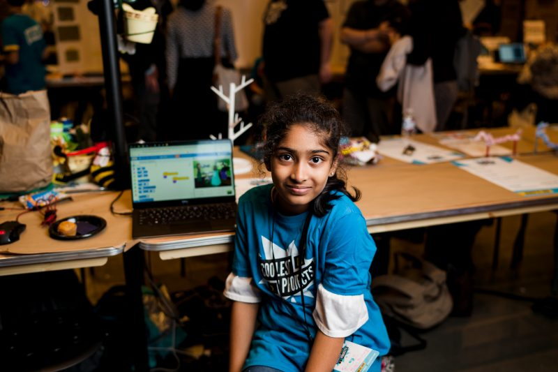 A girl presenting a digital making project