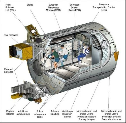 Artist's cut-away view of the Columbus module elements (image credit: ESA)