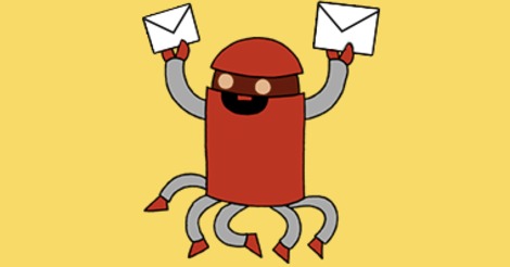 Illustration showing a robot holding up two envelopes