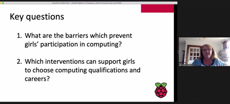 "Screenshot of a presentation about gender balance in computing. Text says: ""Key questions: What are the barriers which prevent girls' participation in computing? Which interventions can support girls to choose computing qualifications and careers?"""
