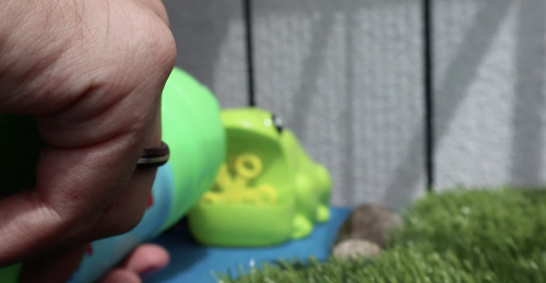 Bubble soap being poured into the plastic frog's mouth