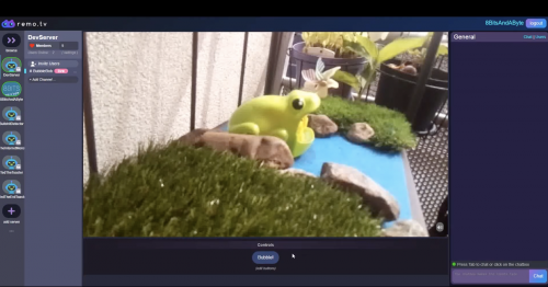 A screenshot of the now automated frog in situ as seen on the remo dot tv website