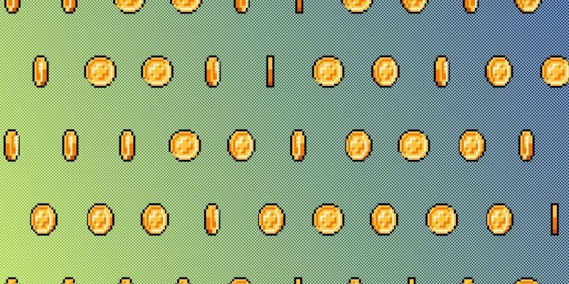 Illustration of 8-bit gold coins