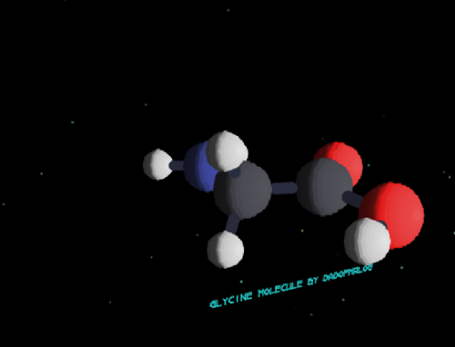 3D model of a glycine molecule