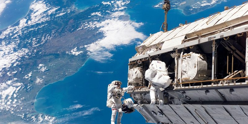Astronauts on a space walk