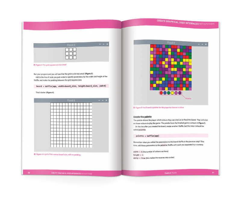 A double-page from the book Create Graphical User Interfaces with Python