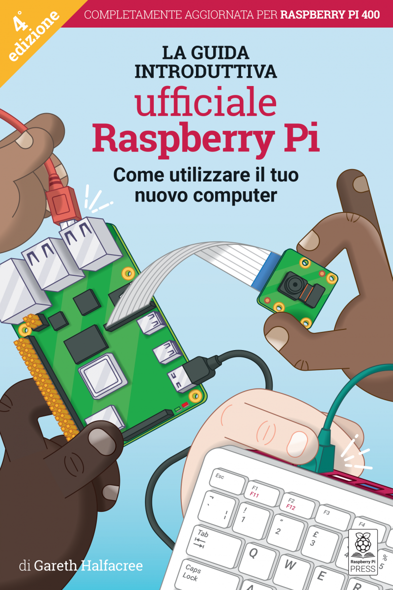 The cover of Raspberry Pi Beginner's Guide Italian edition