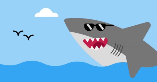 Illustration of a shark with sunglasses