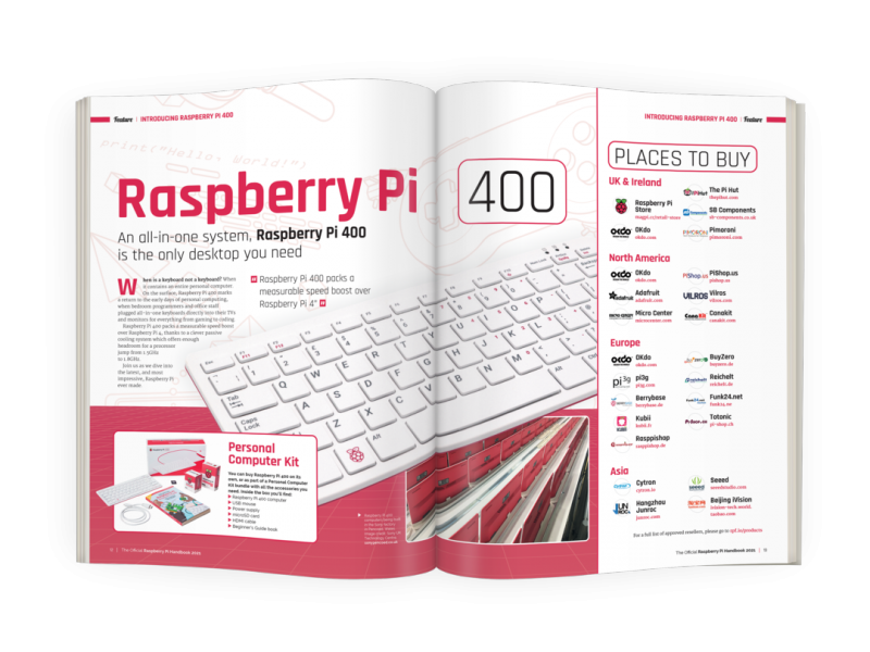 A double page spread about Raspberry Pi 400
