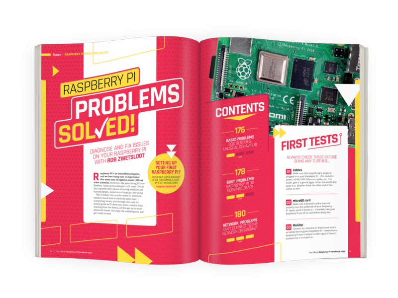 A double page spread on problem solving with Raspberry Pi