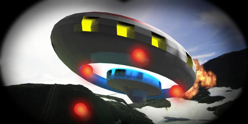 Underside of colourful VR spaceship