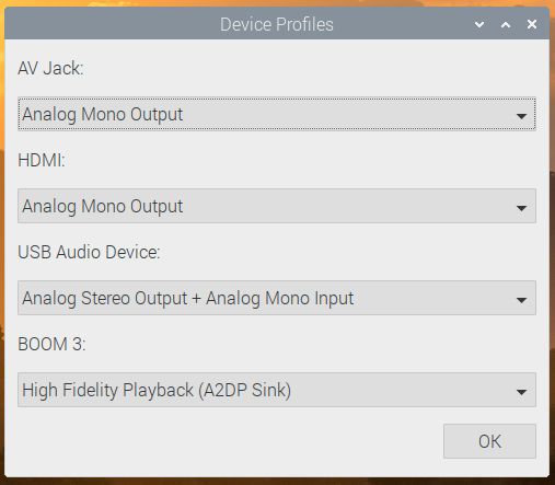 The PulseAudio profile selector