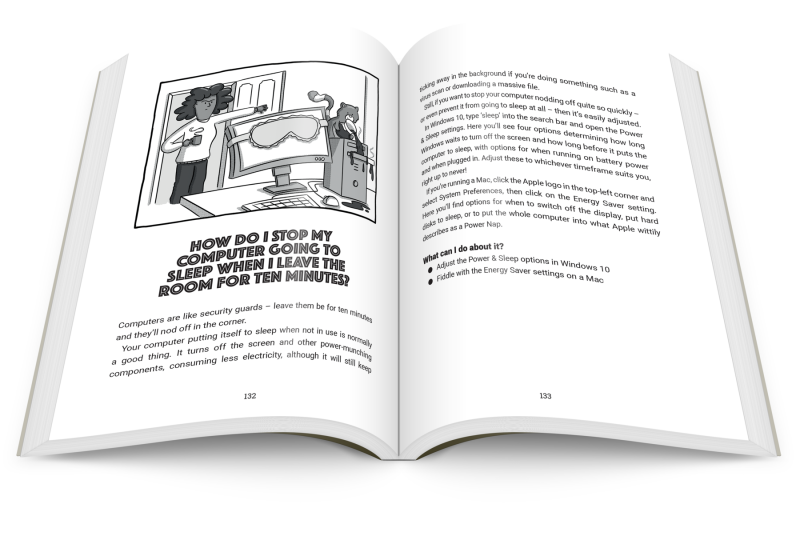 the book open showing a page about computers sleep mode