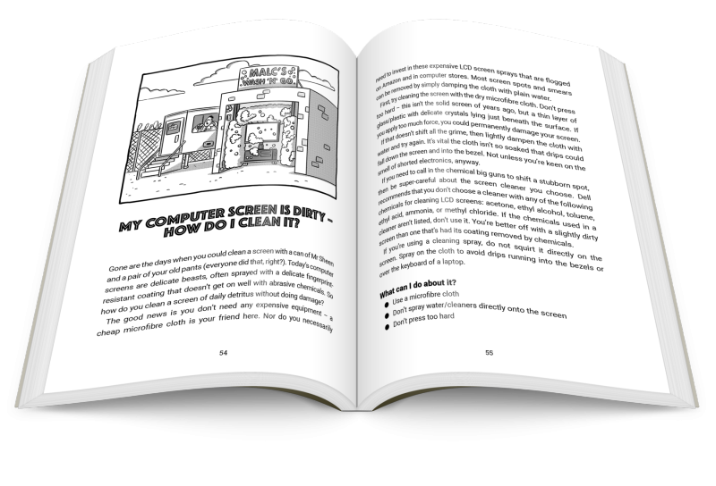 the book open on a page about cleaning computer screens
