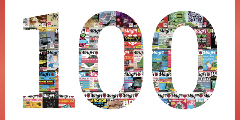 The number 100 made up of tiny front covers of the magpi magazine