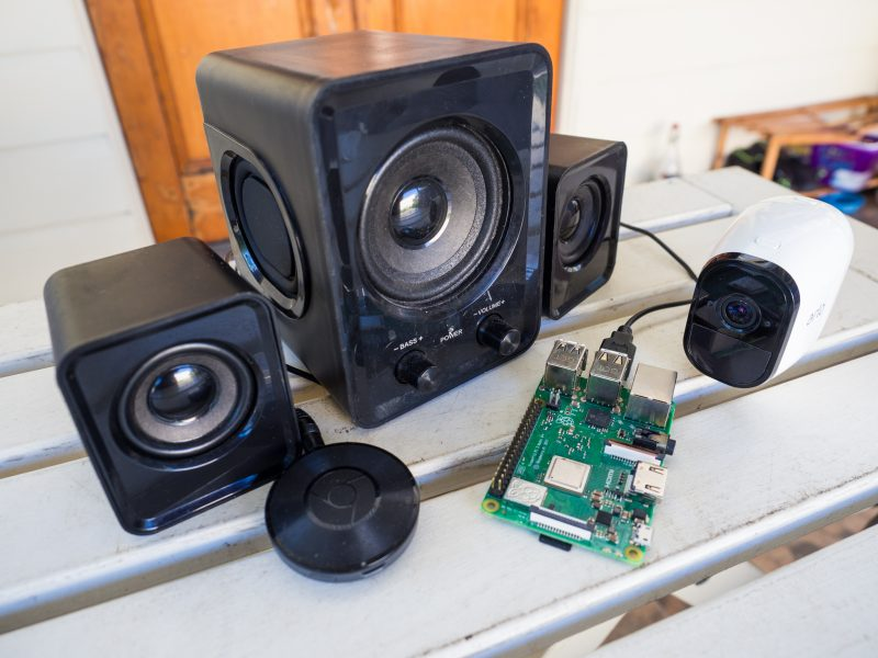 speaker, chromecast device, cctv camera and the Raspberry Pi connected for the anti burglary chatbot